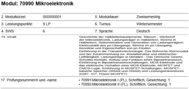 Beispiel: Mikroelektronik im Studienverlaufsplan (c)