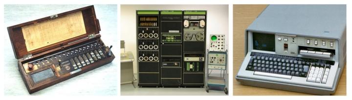 Drei Bilder: Burkhardt Arithmometer. LAB-8/E und IBM 5100 Personalcomputer