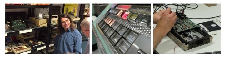 Drei Fotos: Klemens Krause im Gespräch, das Tastenfeld eines Computers, die Reparatur eines Rechners