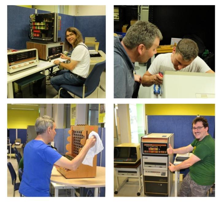 vier Bilder, die die Mitarbeiter bei der Reparatur oder dem Aufbau zeigen (c)