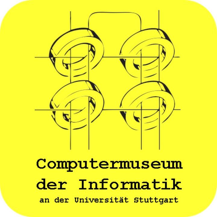 Das Logo zeigt vier Ringe auf gelben Hintergrund und dem Namen des Museums