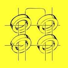 Das Logo des Computermuseums mit der Zeichnung von vier Magnetkernspeicher auf gelbem Hintergrund